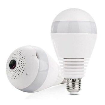 Câmera Lâmpada Espiã Ip Panorâmica 360º Wi-Fi Hd 720P com Microfone