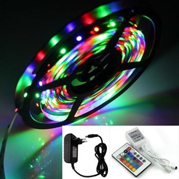 Fita LED Adesiva RGB Colorida Bivolt 5m + Controle e Fonte 12V