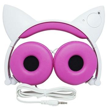 Fone Ouvido Headphone Orelha De Gato LED P2 com Fio Exboom