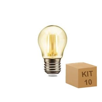 Kit 10 Lâmpada Filamento LED Retrô Vintage 3,2W G45 Âmbar 2300k Bivolt 4G