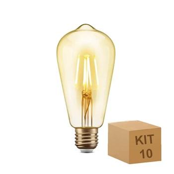 Kit 10 Lâmpada Filamento LED Retrô Vintage 4,5W ST64 Âmbar 2300k Bivolt 6G