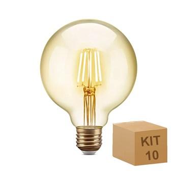 Kit 10 Lâmpada Filamento LED Retrô Vintage 6W G80 Âmbar 2300k Bivolt 8G