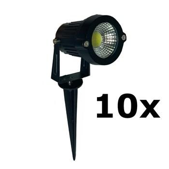 Kit 10 Luminária Espeto De Jardim Cob Led 5w Branco Frio 6000k