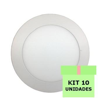 Kit 10 Luminária Led Painel Plafon Embutir 12W Redondo 17cm Branco Quente