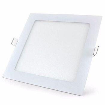Kit 10 Luminária Led Painel Plafon Embutir 18W Quadrado 22X22cm Branco Quente