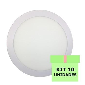 Kit 10 Luminária Led Painel Plafon Embutir 18W Redondo 22cm Branco Quente