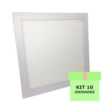 Kit 10 Luminária Led Painel Plafon Embutir 25W Quadrado 30X30cm Branco Quente