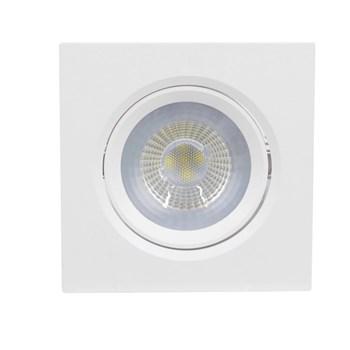Kit 10 Spot LED Embutir 7W Direcionavel Quadrado Branco Quente