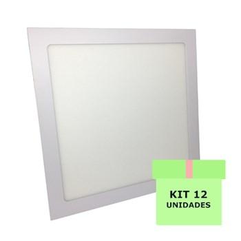 Kit 12 Luminária Led Painel Plafon Embutir 25W Quadrado 30X30cm Branco Frio
