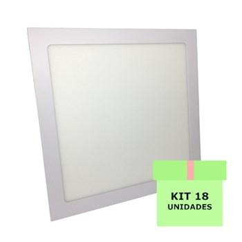 Kit 18 Luminária Led Painel Plafon Embutir 25W Quadrado 30X30cm Branco Frio