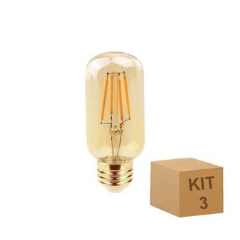 Kit 3 Lâmpada Filamento LED Retrô Vintage 4W T45 Âmbar 2300k Bivolt