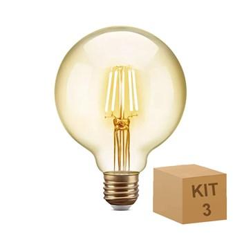 Kit 3 Lâmpada Filamento LED Retrô Vintage 6W G80 Âmbar 2300k Bivolt 8G