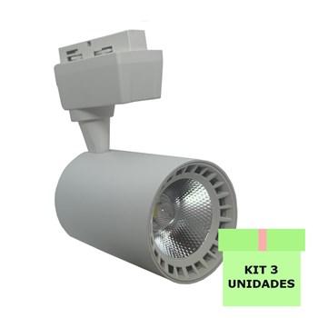 Kit 3 Spot Led Para Trilho 10W Branco Frio Bivolt Branco Andeli