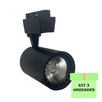 Kit 3 Spot Led Para Trilho 10W Branco Frio Bivolt Preto Andeli