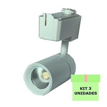 Kit 3 Spot LED para Trilho 10W Branco Quente Bivolt Branco Initial