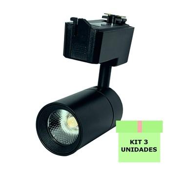 Kit 3 Spot LED para Trilho 10W Branco Quente Bivolt Preto Initial