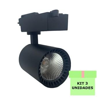 Kit 3 Spot Led Para Trilho 18W Branco Frio Bivolt Preto Andeli