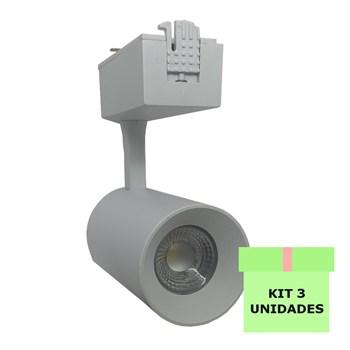 Kit 3 Spot Led Para Trilho 7W Branco Frio Bivolt Branco Andeli