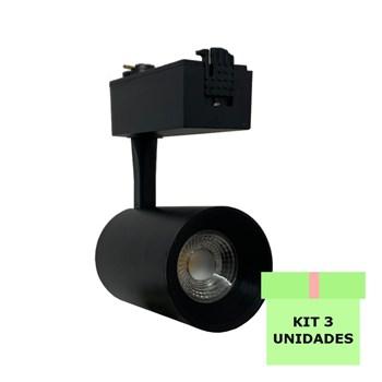 Kit 3 Spot Led Para Trilho 7W Branco Frio Bivolt Preto Andeli
