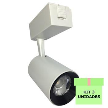 Kit 3 Spot LED para Trilho 7W Branco Quente Bivolt Branco Initial