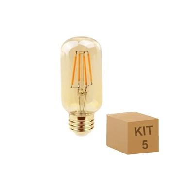 Kit 5 Lâmpada Filamento LED Retrô Vintage 4W T45 Âmbar 2300k Bivolt