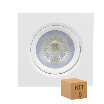 Kit 5 Spot LED Embutir 5W Direcionavel Quadrado Branco Frio