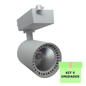 Kit 5 Spot Led Para Trilho 18W Branco Frio Bivolt Branco Andeli