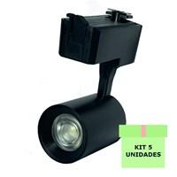 Kit 5 Spot LED para Trilho 7W Branco Frio Bivolt Preto Initial