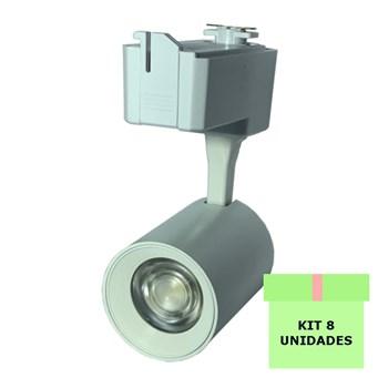 Kit 8 Spot LED para Trilho 7W Branco Frio Bivolt Branco Initial