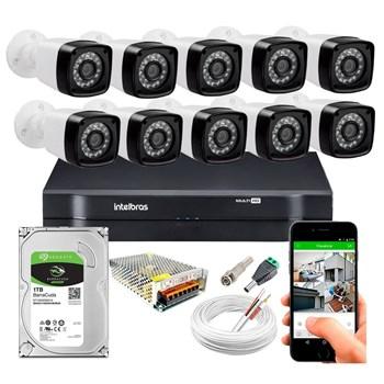 Kit CFTV 10 Câmeras HD 720P Infravermelho 20 metros DVR Intelbras MHDX 1116 HD 1TB de Armazenamento + Acessórios