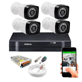 Kit CFTV 4 Câmeras HD 720P Infravermelho 20 metros DVR Intelbras MHDX 1104 + Acessórios