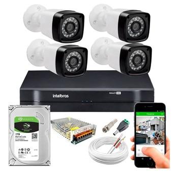 Kit CFTV 4 Câmeras HD 720P Infravermelho 20 metros DVR Intelbras MHDX 1104 HD 1TB de Armazenamento + Acessórios