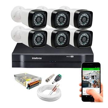 Kit CFTV 6 Câmeras HD 720P Infravermelho 20 metros DVR Intelbras MHDX 1108 + Acessórios