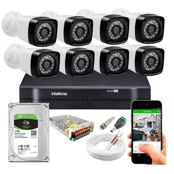 Kit CFTV 8 Câmeras HD 720P Infravermelho 20 metros DVR Intelbras MHDX 1108 HD 1TB de Armazenamento + Acessórios