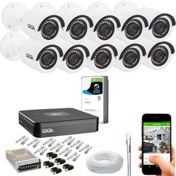 Kit CFTV Giga Security 10 Câmeras Full HD 1080p Infravermelho 20m DVR 16 Canais Full HD 1080p HD 1TB de Armazenamento + Acessórios