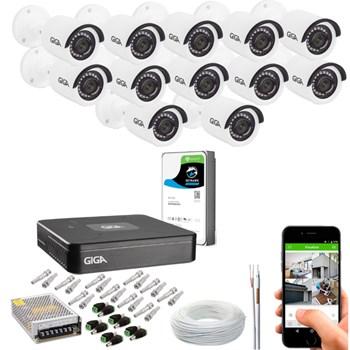 Kit CFTV Giga Security 12 Câmeras Full HD 1080p Infravermelho 20m DVR 16 Canais Full HD 1080p HD 1TB de Armazenamento + Acessórios