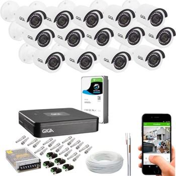 Kit CFTV Giga Security 14 Câmeras Full HD 1080p Infravermelho 20m DVR 16 Canais Full HD 1080p HD 1TB de Armazenamento + Acessórios