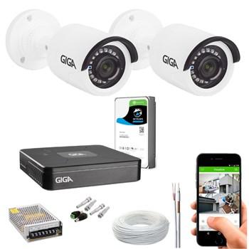 Kit CFTV Giga Security 2 Câmeras HD 720p Infravermelho 20m DVR 4 Canais LITE 1080n HD 1TB de Armazenamento + Acessórios