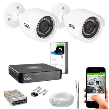 Kit CFTV Giga Security 2 Câmeras HD 720p Infravermelho 30m DVR 4 Canais LITE 1080n HD 1TB de Armazenamento + Acessórios