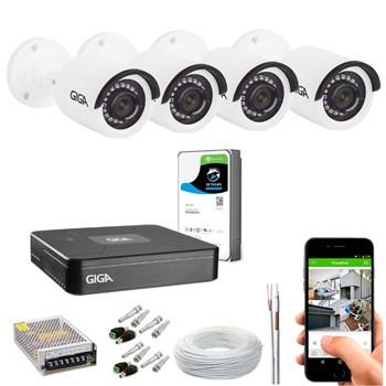 Kit CFTV Giga Security 4 Câmeras HD 720p Infravermelho 20m DVR 4 Canais LITE 1080n HD 1TB de Armazenamento + Acessórios