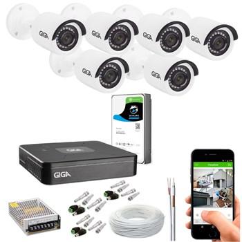 Kit CFTV Giga Security 6 Câmeras Full HD 1080p Infravermelho 20m DVR 8 Canais Full HD 1080p HD 1TB de Armazenamento + Acessórios