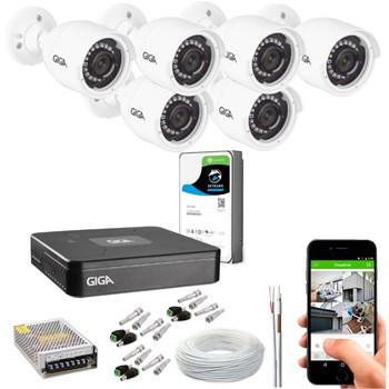 Kit CFTV Giga Security 6 Câmeras HD 720p Infravermelho 30m DVR 8 Canais LITE 1080n HD 1TB de Armazenamento + Acessórios