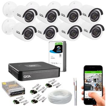 Kit CFTV Giga Security 8 Câmeras HD 720p Infravermelho 20m DVR 4 Canais LITE 1080n HD 1TB de Armazenamento + Acessórios