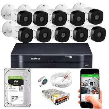 Kit CFTV Intelbras 10 Câmeras FULL HD 1080p VHL 1220 B Infravermelho 20 metros DVR MHDX 3116 HD 1TB de Armazenamento + Acessórios