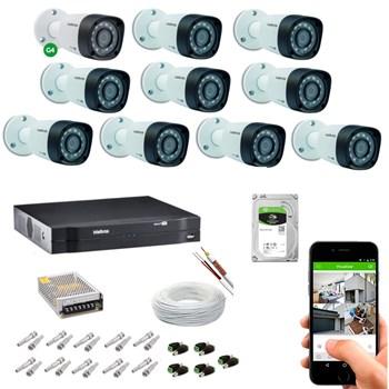 Kit CFTV Intelbras 10 Câmeras HD 720P VHD 1010 B Infravermelho 10 metros DVR MHDX 1116 HD 2TB de Armazenamento + Acessórios