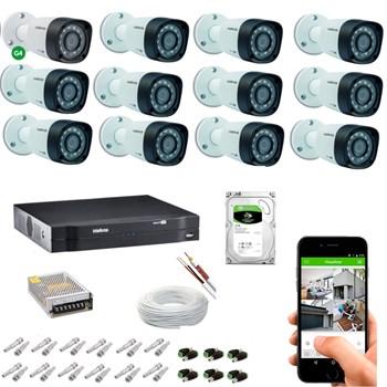 Kit CFTV Intelbras 12 Câmeras HD 720P VHD 3130 B Infravermelho 30 metros DVR MHDX 1116 HD 2TB de Armazenamento + Acessórios