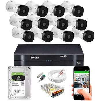 Kit CFTV Intelbras 12 Câmeras HD 720P VHL 1120 B Infravermelho 20 metros DVR MHDX 1116 HD 1TB de Armazenamento + Acessórios