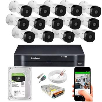 Kit CFTV Intelbras 14 Câmeras FULL HD 1080p VHL 1220 B Infravermelho 20 metros DVR MHDX 3116 HD 1TB de Armazenamento + Acessórios
