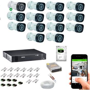 Kit CFTV Intelbras 14 Câmeras HD 720P VHD 3130 B Infravermelho 30 metros DVR MHDX 1116 HD 2TB de Armazenamento + Acessórios