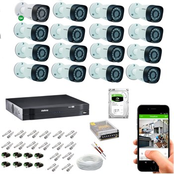 Kit CFTV Intelbras 16 Câmeras FULL HD 1080P VHD 1220 B Infravermelho 20 metros DVR MHDX 3116 HD 2TB de Armazenamento + Acessórios